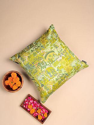 Green Digital Printed Raw Silk Cushion Cover (Length - 16in, Width - 16in)