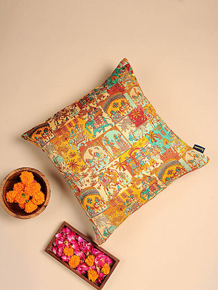 Multicolor Digital Printed Raw Silk Cushion Cover (Length - 16in, Width - 16in)
