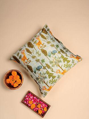Beige Digital Printed Raw Silk Cushion Cover (Length - 16in, Width - 16in)
