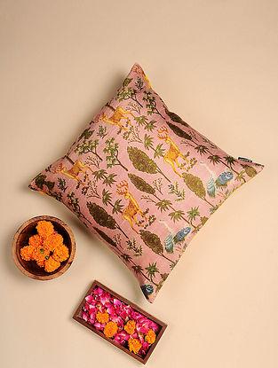 Lilac Digital Printed Raw Silk Cushion Cover (Length - 16in, Width - 16in)