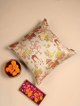 White Digital Printed Raw Silk Cushion Cover (Length - 16in, Width - 16in)