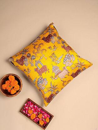 Yellow Digital Printed Raw Silk Cushion Cover (Length - 16in, Width - 16in)