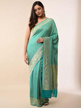 Blue Handwoven Benarasi Georgette Silk Saree