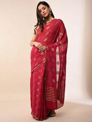 Red Handwoven Benarasi Georgette Silk Saree