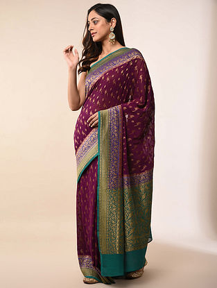 Purple-Green Handwoven Benarasi Georgette Silk Saree