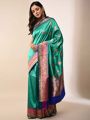 Green-Blue Handwoven Benarasi Silk Saree
