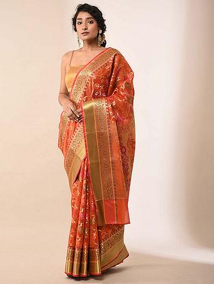 Orange  Handwoven Benarasi Silk Cotton Saree