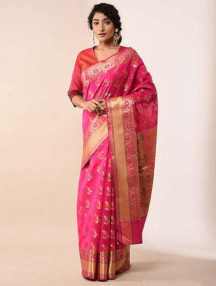 Pink Handwoven Benarasi Silk Cotton Saree