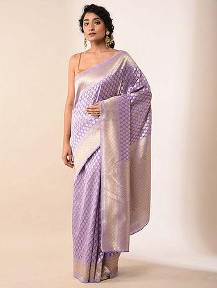 Lilac Handwoven Benarasi Silk Saree