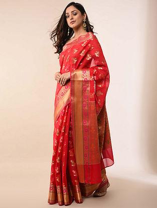 Red Handwoven Benarasi Silk Cotton Saree
