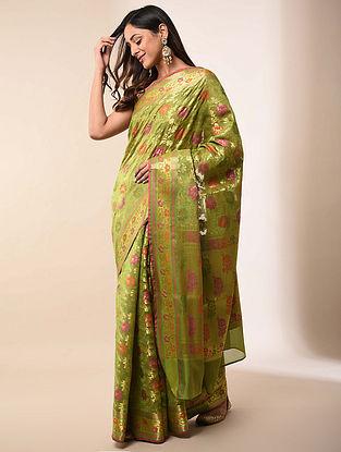 Green Handwoven Benarasi Silk Cotton Saree