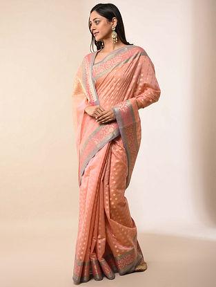 Peach Handwoven Benarasi Silk Cotton Saree