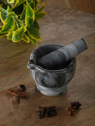 Grey Marble Mortar and Pestle (Dia - 4.5in, H - 3.5in)