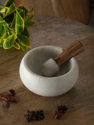 White Marble Mortar and Pestle with Wood Handle (Dia - 5.5in, H - 3in)
