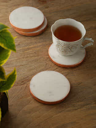 White Marble Coasters with Rose Gold Foiled Rim (Set of 4) (4in x 4in)