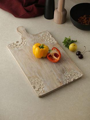 Flower White Wood Chopping Board (18in x 10in)