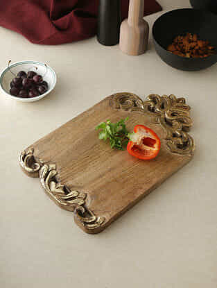 Royal Beige and Gold Wood Chopping Board with Gold Foiled Border (16in x 10in)