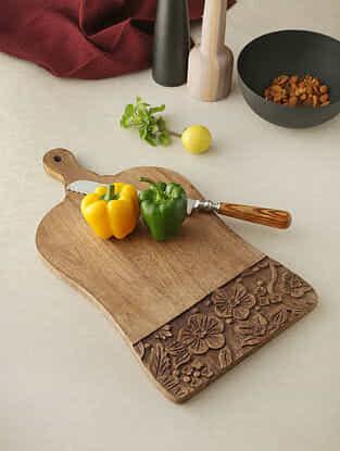 Flower Beige Wood Chopping Board (18in x 10in)