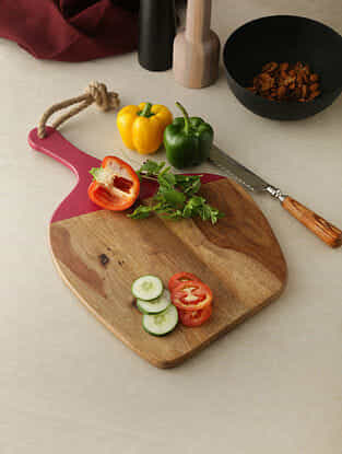 Beige and Red Wood Chopping Board with Colored Edge (17in x 11in)