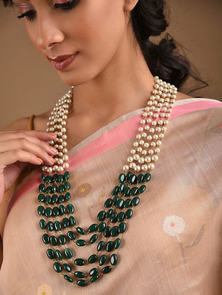 Green Beaded Layered Necklace With Pearls