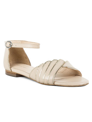 Beige Handcrafted Leather Sandals