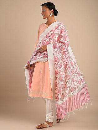 White-Pink Block Printed Chanderi Dupatta with Zari