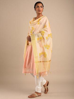 Cream-Yellow Block Printed Chanderi Dupatta with Zari