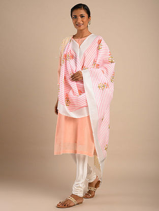 Off White-Pink Block Printed Chanderi Dupatta with Zari