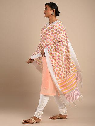 Multicolored Block Printed Chanderi Dupatta with Zari