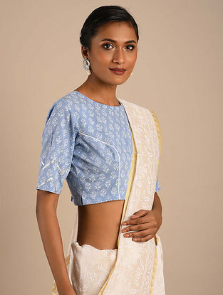 Blue Block Printed Cotton Blouse