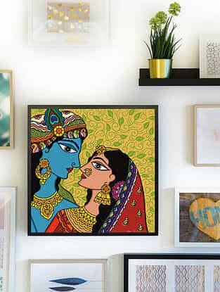 Krishna Multicolor Handmade Madhubani Artwork Print on Paper