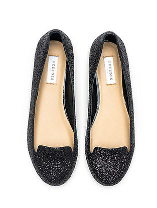 Black Glitter Handcrafted Genuine Leather Shoes