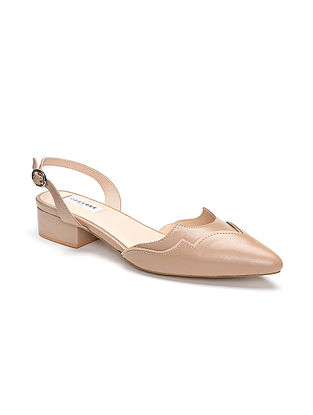 Nude Handcrafted Genuine Leather Block Heels