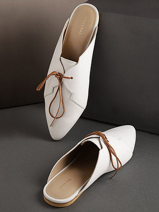 White Handcrafted Genuine Leather Mules