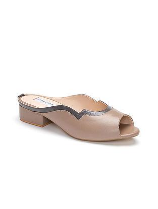 Grey Handcrafted Genuine Leather Block Heels