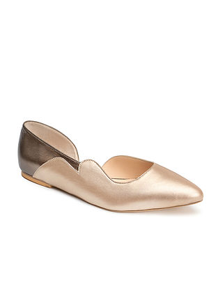 Gold Silver Handcrafted Genuine Leather Shoes