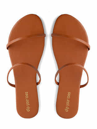 Tan Handcrafted Faux Leather Flats