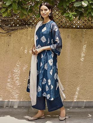 Indigo Tie and Dye Kurta with Farshi and Stole (Set of 3)