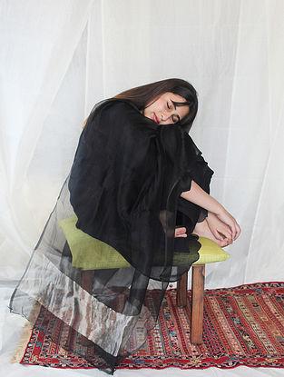 Midnight Black Pintucks Kurta with Farshi and Dupatta (Set of 3)