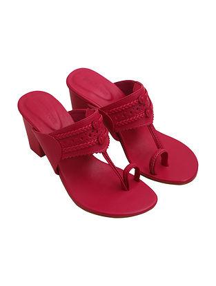 Pink Handcrafted Leather Kolhapuri Block Heels