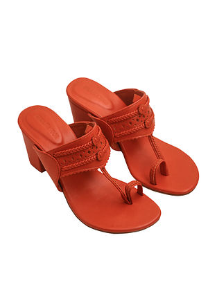 Orange Handcrafted Leather Kolhapuri Block Heels