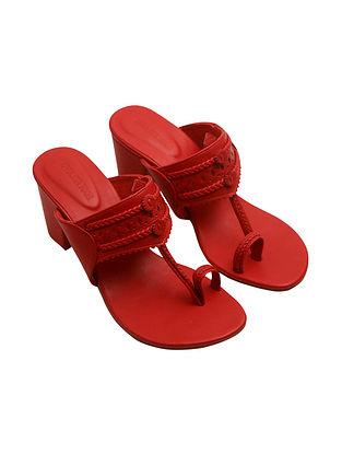 Red Handcrafted Leather Kolhapuri Block Heels