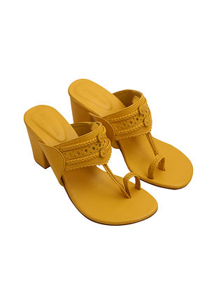 Yellow Handcrafted Faux Leather Kolhapuri Block Heels