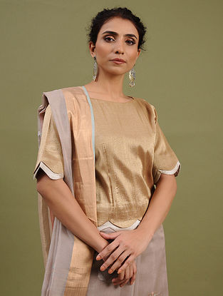 Golden-Silver Cotton Tissue Blouse