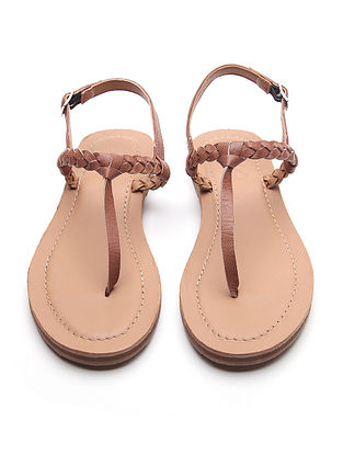 Brown Handwoven Genuine Leather Sandals