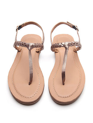 Bronze Handwoven Genuine Leather Sandals