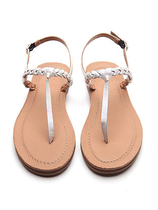Silver Handwoven Genuine Leather Sandals