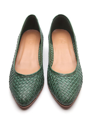 Green Handwoven Genuine Leather Shoes