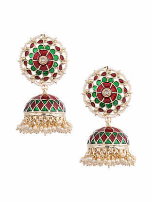 Green Red Gold Tone Enameled Jhumki Earrings With Pearls