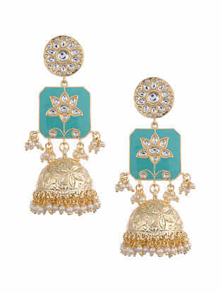 Turquoise Gold Tone Kundan Enameled Jhumki Earrings With Pearls